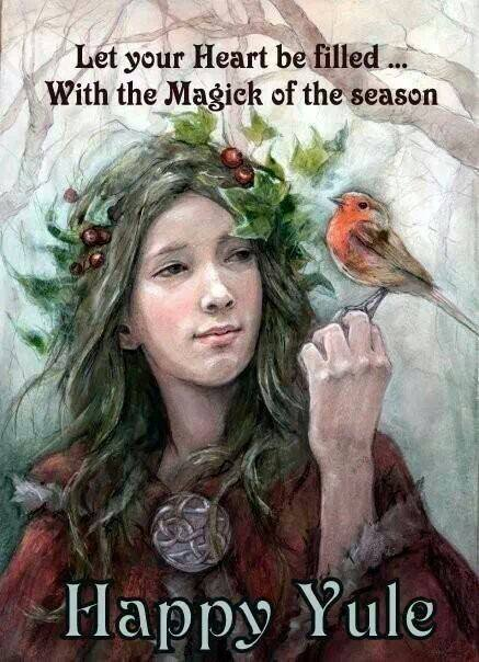 Magick of the season happy yule bird woman nice holiday christmas