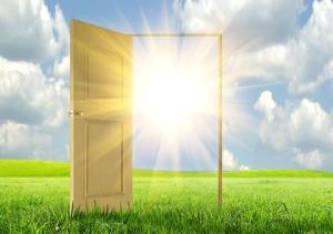 golden portal in field open door