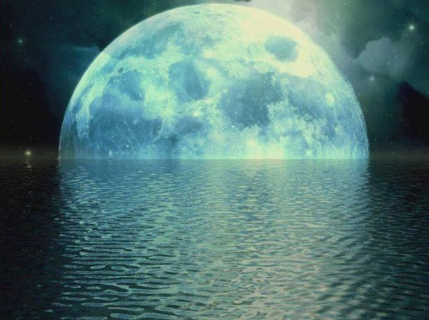 moon over ocean water nature earth