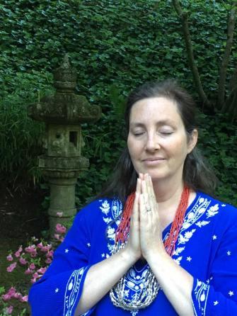 Sage meditating namaste Oregon garden photo pic
