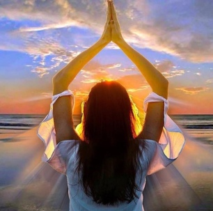 woman namaste greeting sun gorgeous