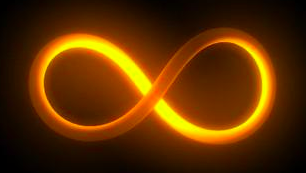 golden infinity symbol black background